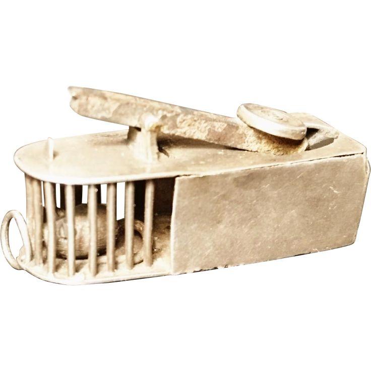 Antique silver cigar cutter, mouse trap, novelty Victorian silver cigar cutter