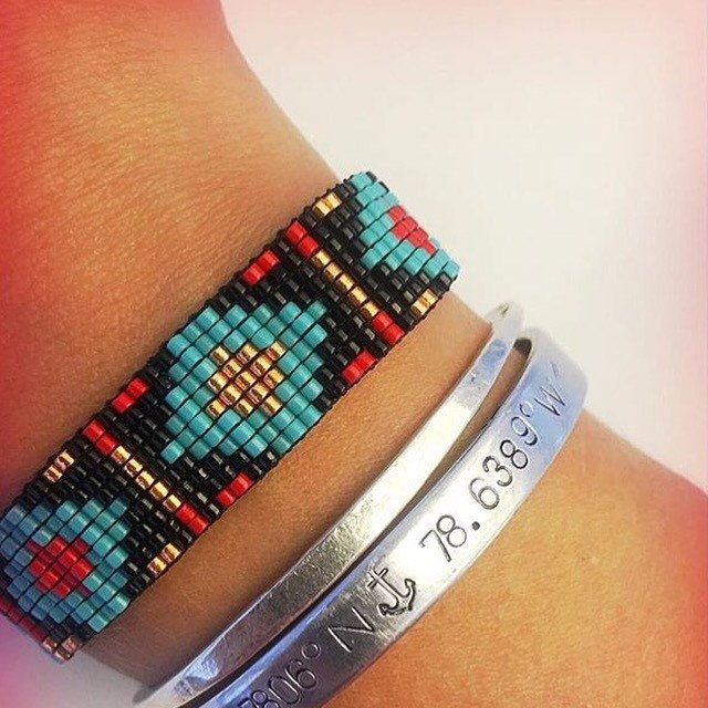 A customer's photo of the bracelet I made for her in custom colors.