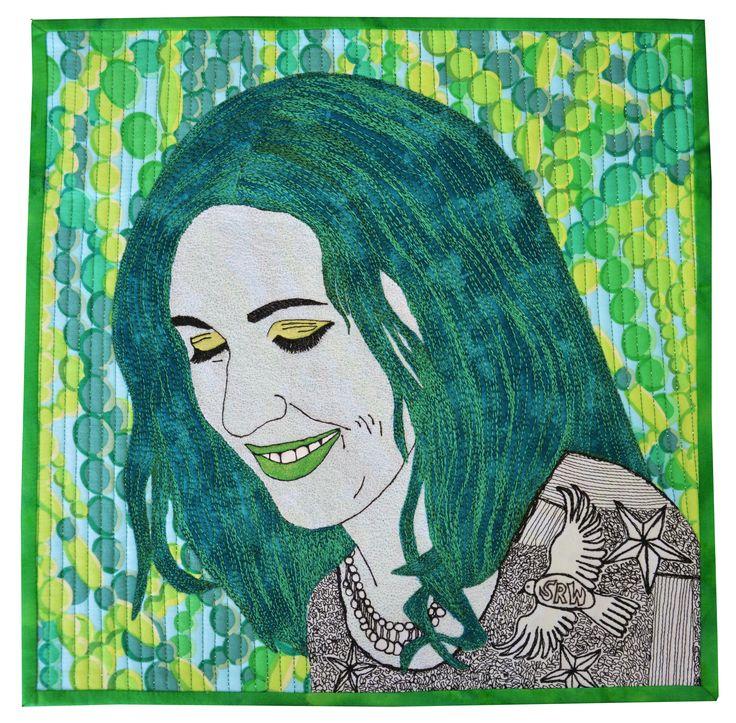"Self Portrait 2015 Aotearoa Quilters Green Challenge Exhibition 12x12"" #sophiewoodartist #sophiewood #artquilt #textileart www.sophiewoodartist.com"