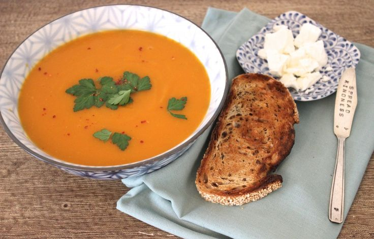 Pumpkin and sweet potato soup with fennel and chilli