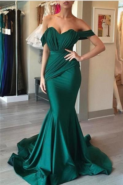 Mermaid Prom Dress Emerald Green Evening Sweetheart Formal Y