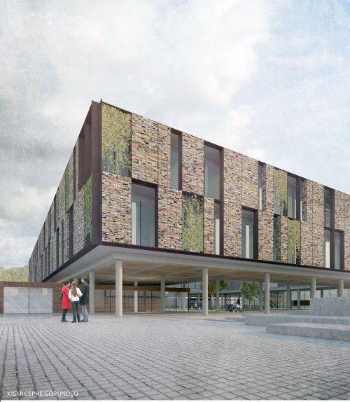 """3. Ödül - Çanakkale Belediyesi """"Yeşil"""" Yerel Yönetim ve Kültür Merkezi Binası ile Yakın Çevresinin Düzenlenmesi Ulusal Mimari Proje Yarışması - kolokyum.com"""