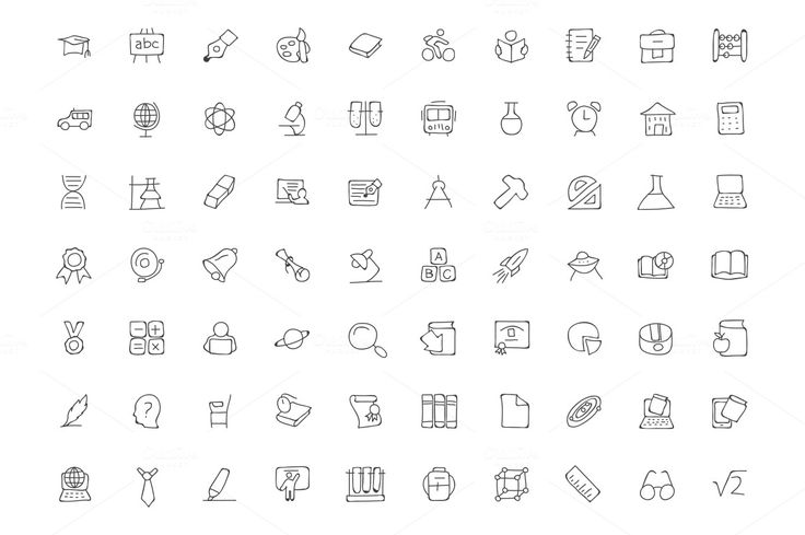 200 Education Hand Drawn Doodle Icon by Creative Stall on Creative Market