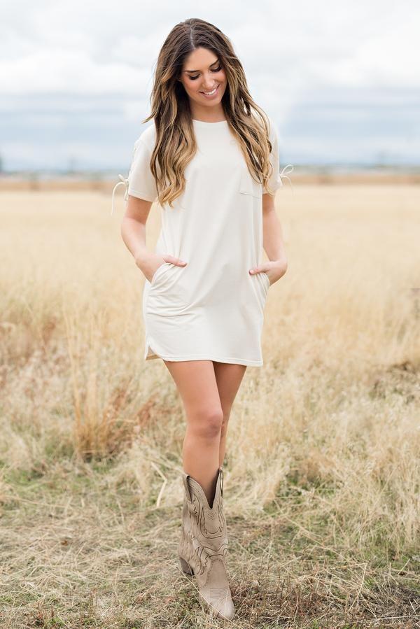 Lilah T-Shirt Dress (Cream)