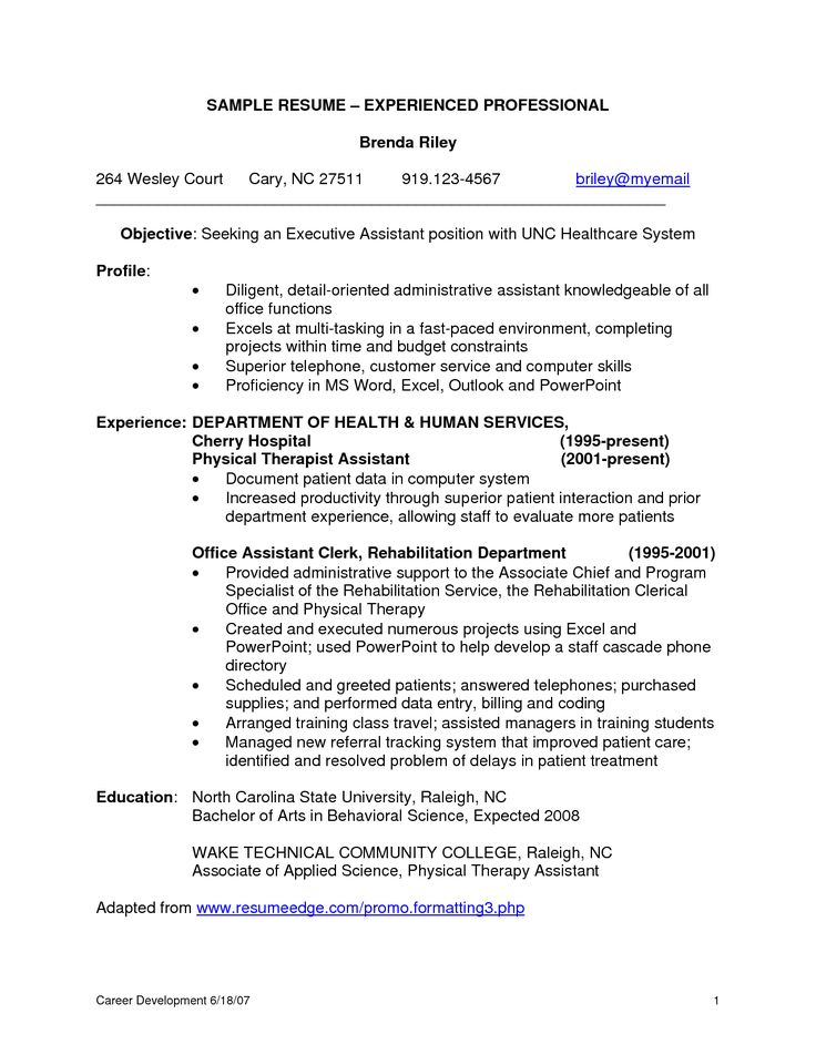 Resume Format For Experienced Professional experienced