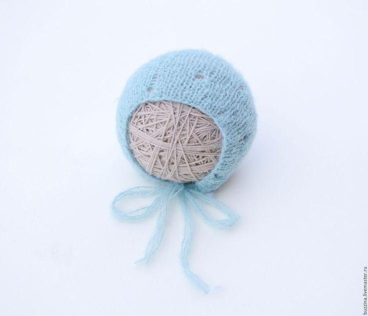 Купить Шапочка для новорожденного мальчика из альпаки голубая - шапка, шапочка, шапка для новорожденной, шапочка для новорожденной