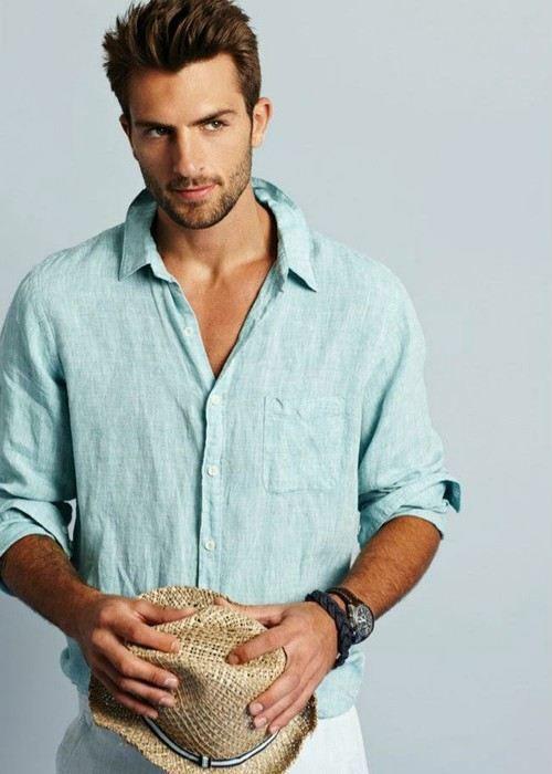 Shop this look on Lookastic:  http://lookastic.com/men/looks/light-blue-linen-long-sleeve-shirt-white-linen-dress-pants-tan-straw-hat-dark-brown-leather-watch-black-bracelet/11572  — Light Blue Linen Long Sleeve Shirt  — White Linen Dress Pants  — Tan Straw Hat  — Black Bracelet  — Dark Brown Leather Watch