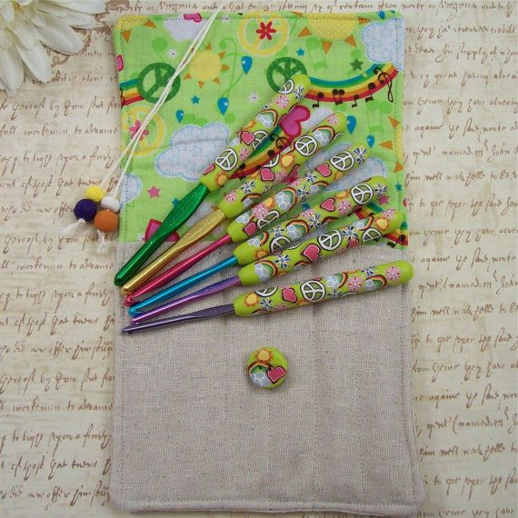 Crochet Hook Case with Set of Susan Bates Crochet Hooks, Handmade with Polymer Clay. $57.00, via Etsy.