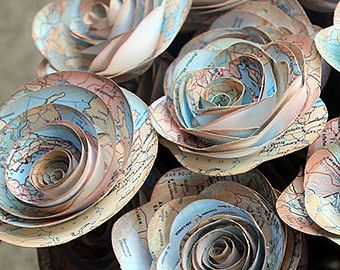 Map Paper Flowers Bouquet - Wedding - Going Away Party - Travel Agent - Gift - Atlas - Adventure - Rustic Vintage - Bridal Shower