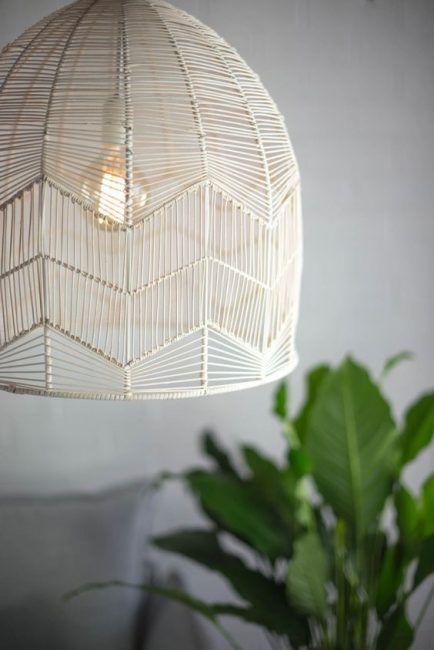 Lámpara de mimbre de techo