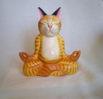 YOGA CAT wood carved. by ExtravaganzaBali on Etsy.   Painted with acrylics colors.  It is a funny decor for people in relation with yoga, meditation, mystic ... 20 cm (7,9 inches) high.