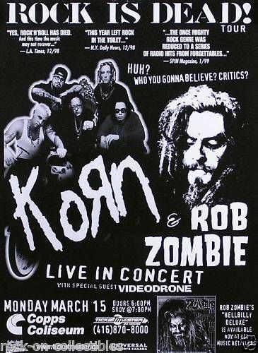 Korn 1999 Rock Is Dead Rob Zombie Tour Poster