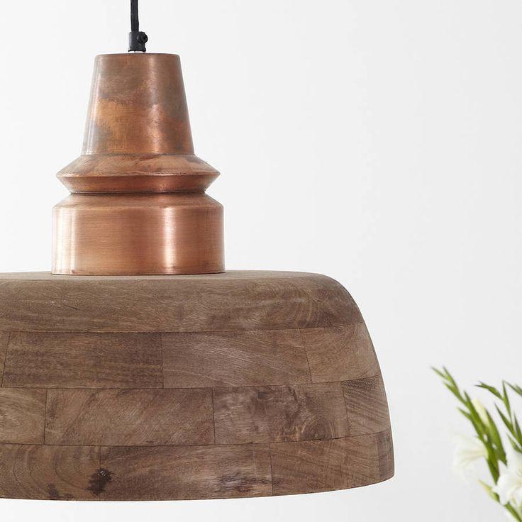 Industrial Natural Wood Pendant Light Copper