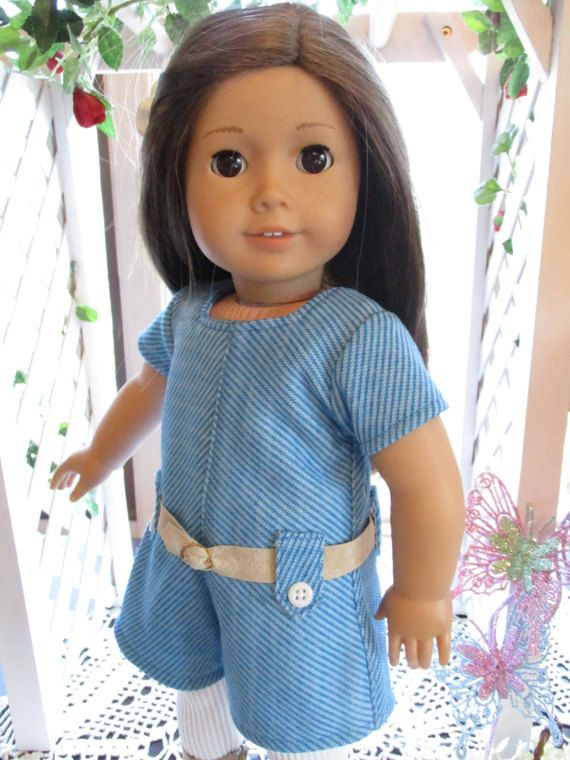 """60's Blue and White Jumpsuit Doll Outfit to fit your 18"""" American Girl Doll with Tights and Belt"""