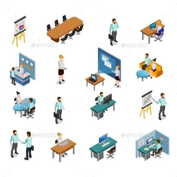 Isometric Business Icons Set by macrovector Isometric Business People Icons Set Vector Illustration
