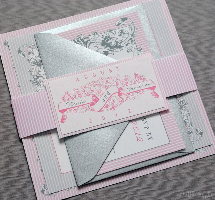 make your own wedding invitations online free%0A Pink Vintage Wedding Invitations  Wedding Suite with Belly Band  Pink and  Gray Wedding