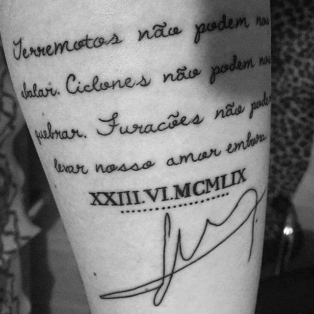 """#inspirationtatto Tatuagem da @gabyricci, em homenagem ao pai que faleceu há 2 anos.  """"Terremotos não podem nos abalar. Ciclones não podem nos quebrar. Furacões não podem levar nosso amor embora."""""""