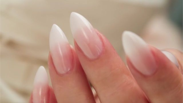 French Fade   Baby Boomer Almond Acrylic Nails (Three Color Fade)