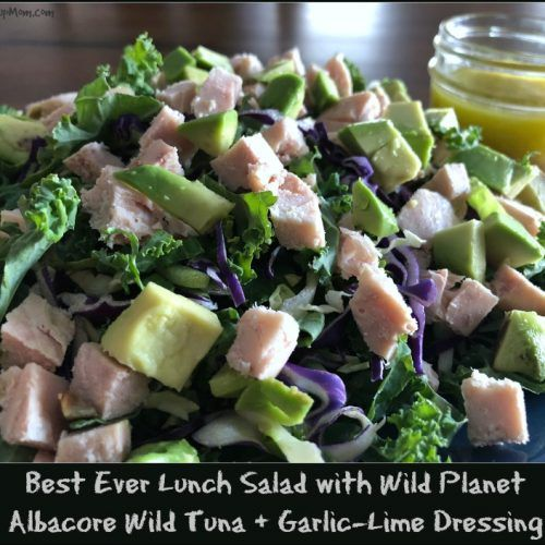 To make this best-ever lunch salad with Wild Planet albacore wild tuna, just top a plate of your favorite crunchy bagged salad with half an avocado, a little of my homemade garlic-lime dressing, and a 3 oz pouch of this amazing albacore tuna!