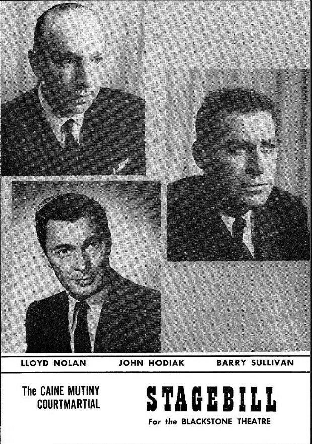 """Theatre Programme from the Return Chicago Production of the Herman Wouk play """"The Caine Mutiny Couurtmartial,"""" which performed from January 31 thru March 5, 1955 at the Blackstone Theatre (today called the Merle Reskin Theatre). Lloyd Nolan, John Hodiak and Henry Fonda starred in the produduction."""