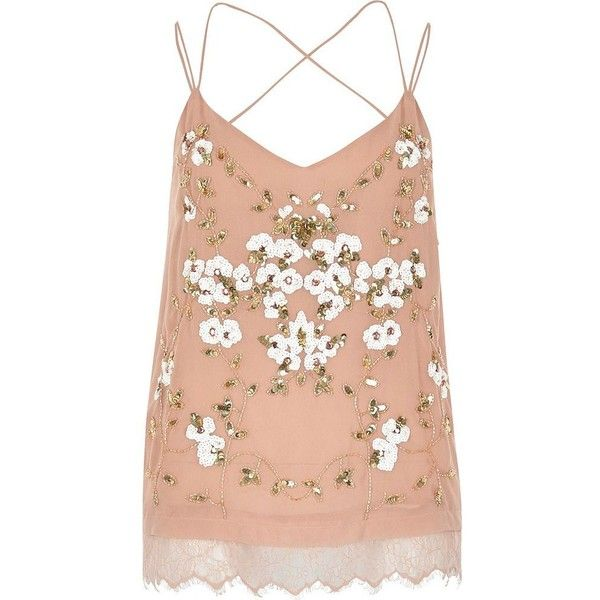 River Island Pink oriental embellished cami top found on Polyvore featuring tops, shirts, pink, red camisole, lace camisole, pink tank, red tank and lace camisole tank tops