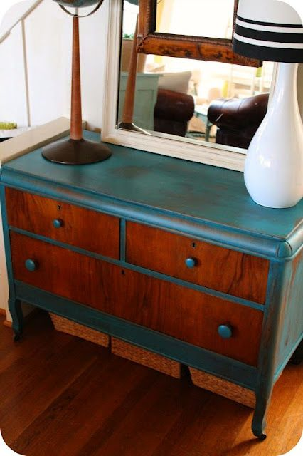 two toned furniture, stained wood and paint