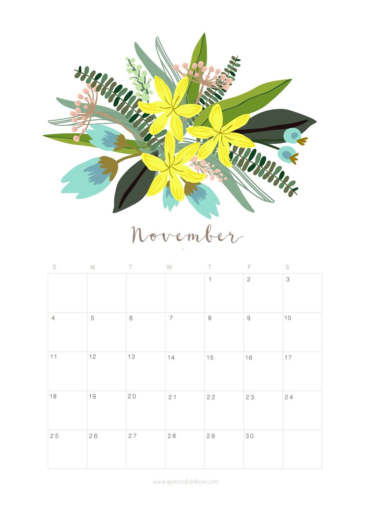 Printable November 2018 Calendar Monthly Planner – Floral ...