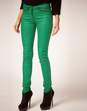 ASOS Green Coated Colored Skinny Jeans..i love colored skinnies.
