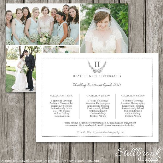 Wedding Price List Wedding Photographer Price List Flyer Wedding