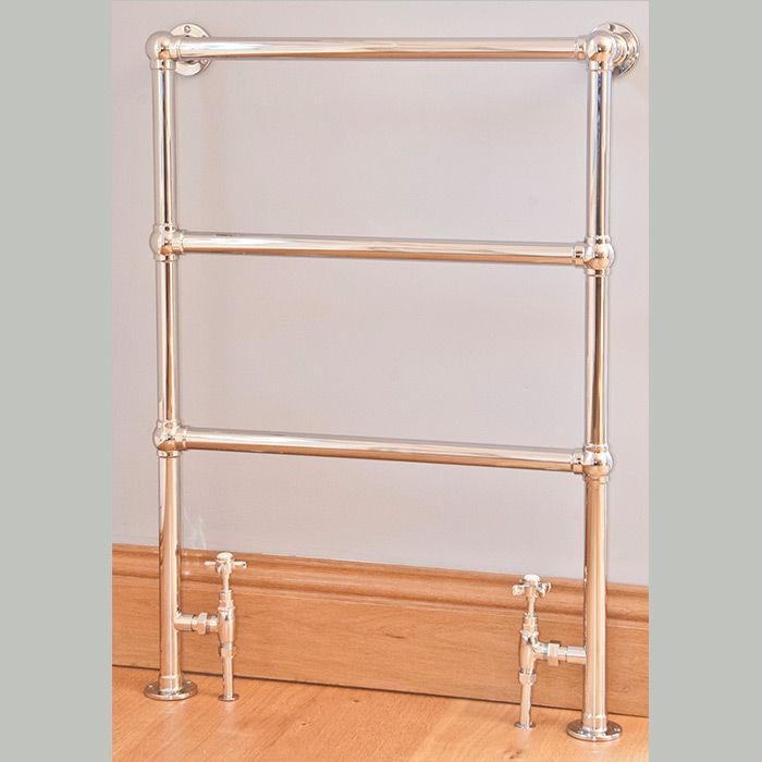 The Belgrave heated towel rail.  The Belgrave traditional towel warmer is handmade to order from DZR Brass in our factory based in the South of England.  The Belgrave towel rail is both wall and floor mounted. The dimensions refer to the overall measurements of the wall/ floor fixing plates.  This product is hand polished. All the plating procedures are undertaken within our factory which eliminates any damage prior to packaging.