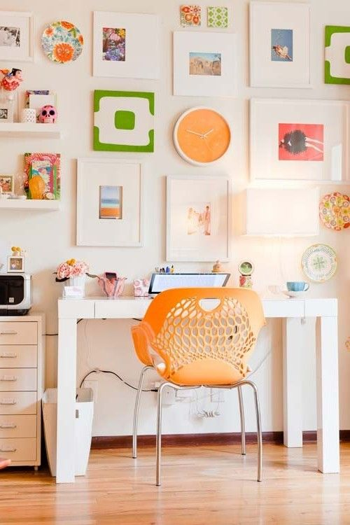 Office U0026 Workspace:Casual Home Office Brings Happiness With Orange Chair  And Creative Wall Decor
