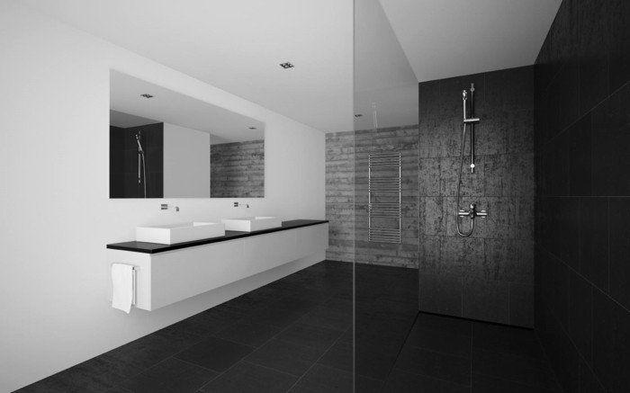idee deco salle de bain design a l italienne, salle de bain avec douche italienne en banc et noir