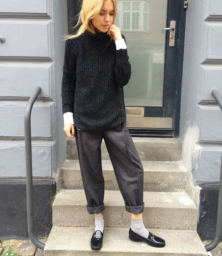 Chunky knit, relaxed trousers.