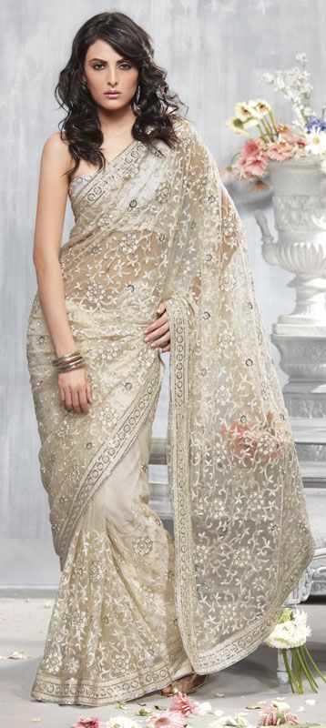 Off White Color Net Saree