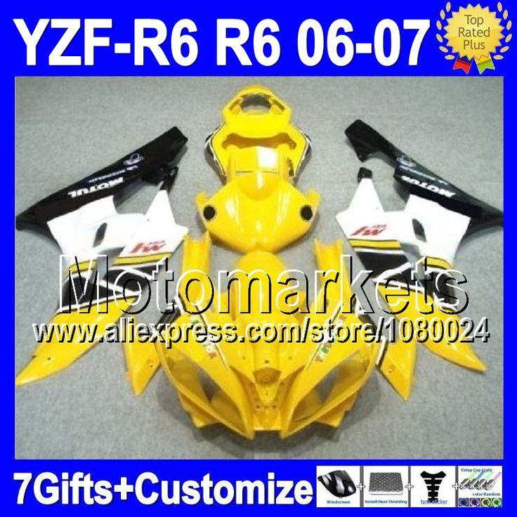 Желтый черный 7 подарок + тела для YAMAHA YZF600 06-07 YZF R 6 YZF-R6 06 07 желтый белый K9681 YZF 600 YZFR6 YZF R6 2006 2007 обтекателя