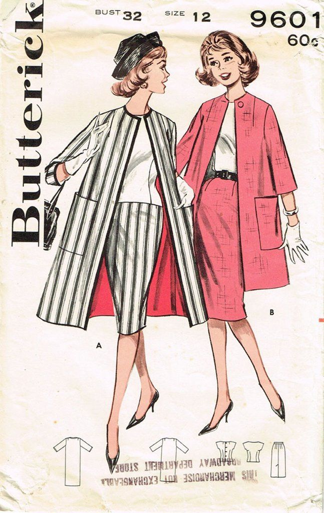 """Butterick Pattern 9601 Misses' Suit Pattern with Stunning Long Jacket Dated 1961 Factory Folded and Unused Counted. Verified. Guaranteed. Size 12 (32"""" Bust) We Sell the Best Original Vintage Sewing Pa"""