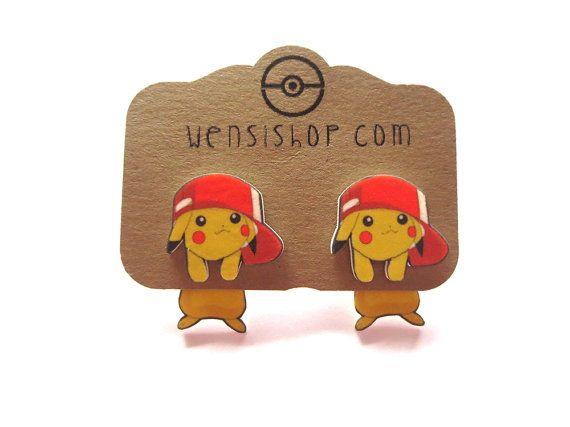Hat Pikachu Pokemon Inspired Cling Earrings by nerdgirlwensi