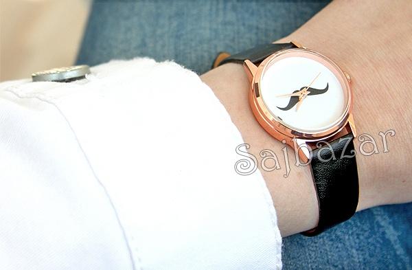www.sajbazar.com  black moustache watch