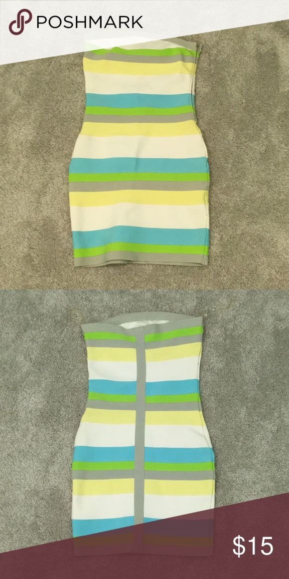 Striped Cocktail Dress Tight striped cocktail dress in great condition. I.t will definetly show all of your curves! WOW couture Dresses Mini