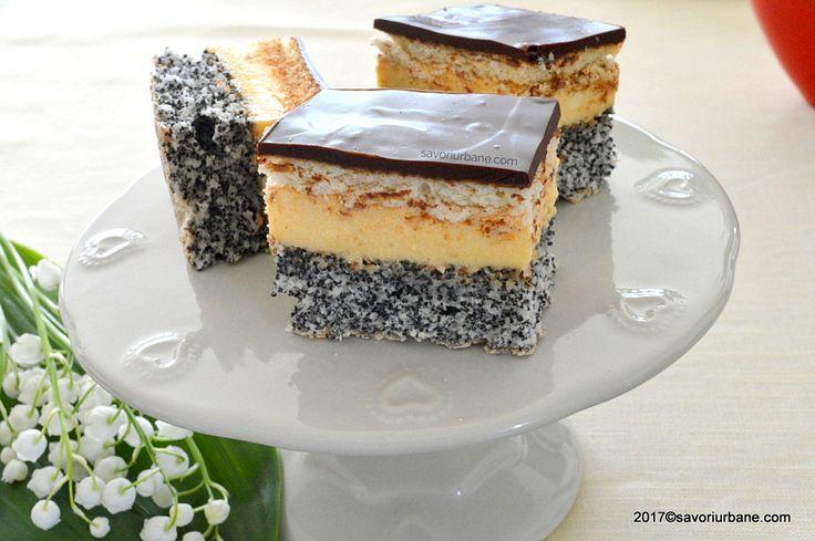 Prajitura Tosca reteta populara. Prajitura cu blat din albusuri cu mac, o crema de vanilie, biscuiti si glazura generoasa de ciocolata. O prajitura de casa