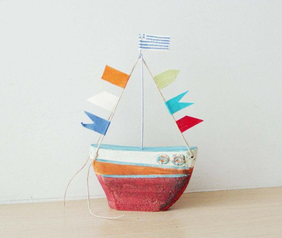 Ceramic sailing boat with colourful flags by ArktosCollectibles, $39.65