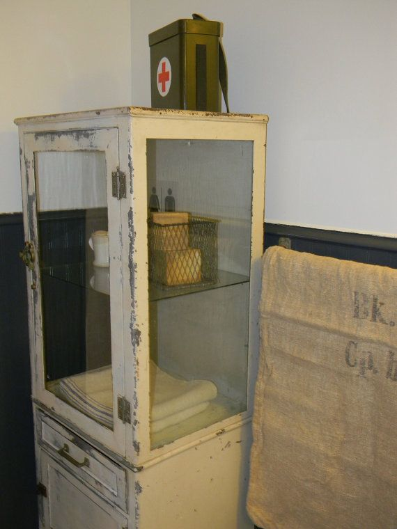 vintage early 1920s medical cabinet