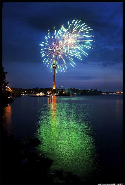 Fireworks at Särkänniemi in Tampere, Finland
