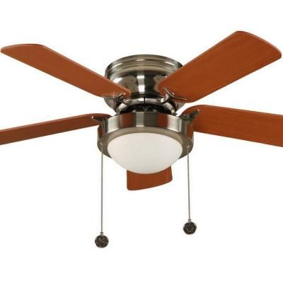 Brushed Nickel Hugger Ceiling Fan With 5 Reversible MDF Blades And Single Frosted Twist Lock Glass Shade 034614 At The Home Depot