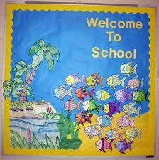 back to school board-we will have just made fish crafts at the end of summer to use.