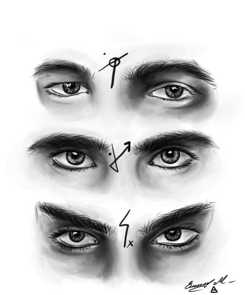 how to draw male realistic eyes