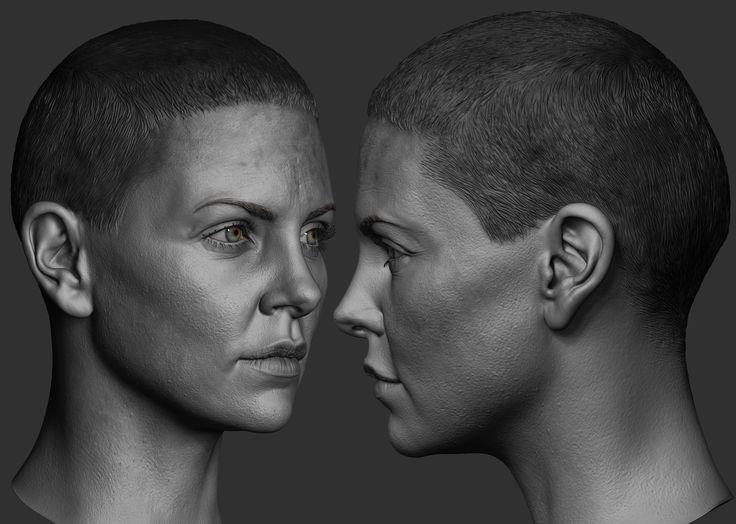 ArtStation - Charlize Theron as Furiosa 1/6 th Head Sculpt - Modern Life, Hossein Diba