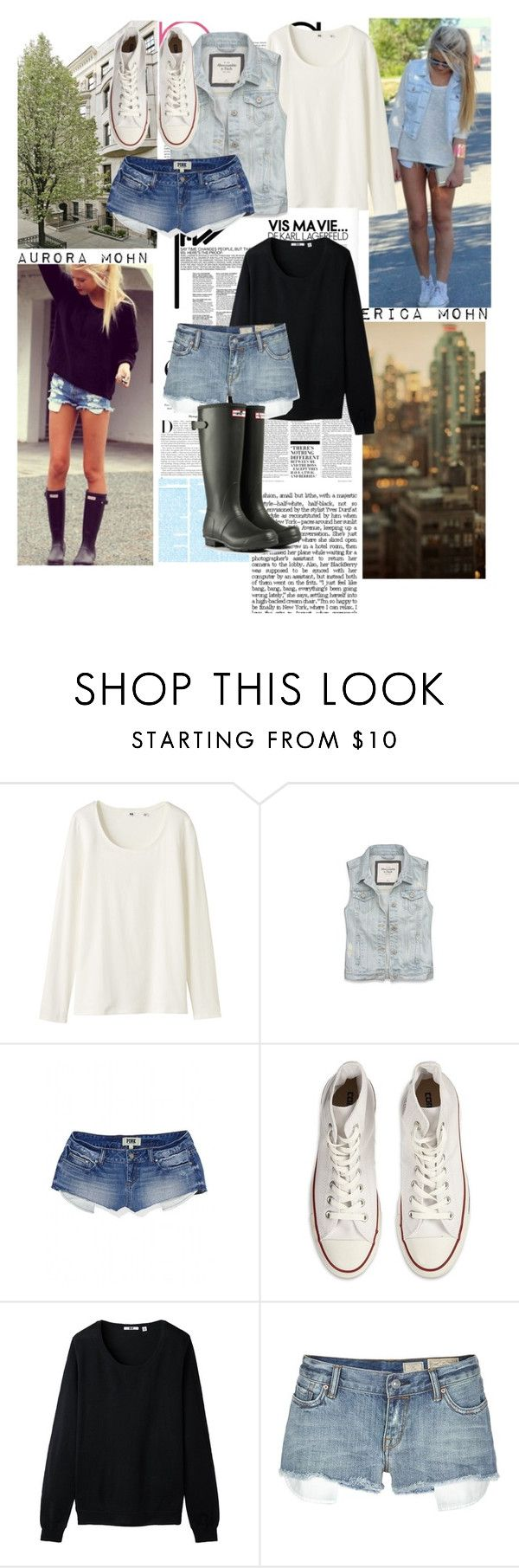 """""""Erica and Aurora Mohn"""" by pinkheadset ❤ liked on Polyvore featuring beauty, Karl Lagerfeld, Nicki Minaj, Uniqlo, Abercrombie & Fitch, Victoria's Secret, Converse, AllSaints and Hunter"""