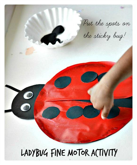sticky lady bug fine motor activity for kids  especially