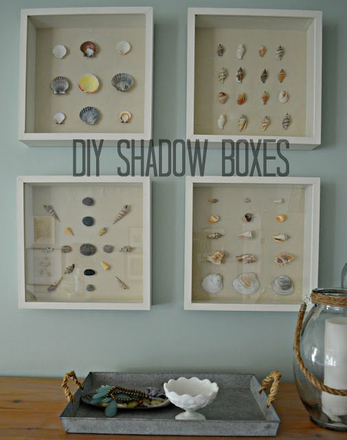 DIY deep Shadow Boxes and Shell Art. Display your collections. Timeless art!